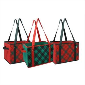 Plaid Design Reinforced Fold Down Bottom Storage Boxes Bins Cubes for Christmas