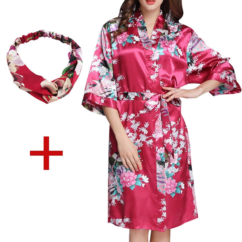 Get Quotations · Kimono Robe Short Sleeve Silk Peacock Nightgown Bridal  Pajamas Nightie Sleepwear 31468bb58