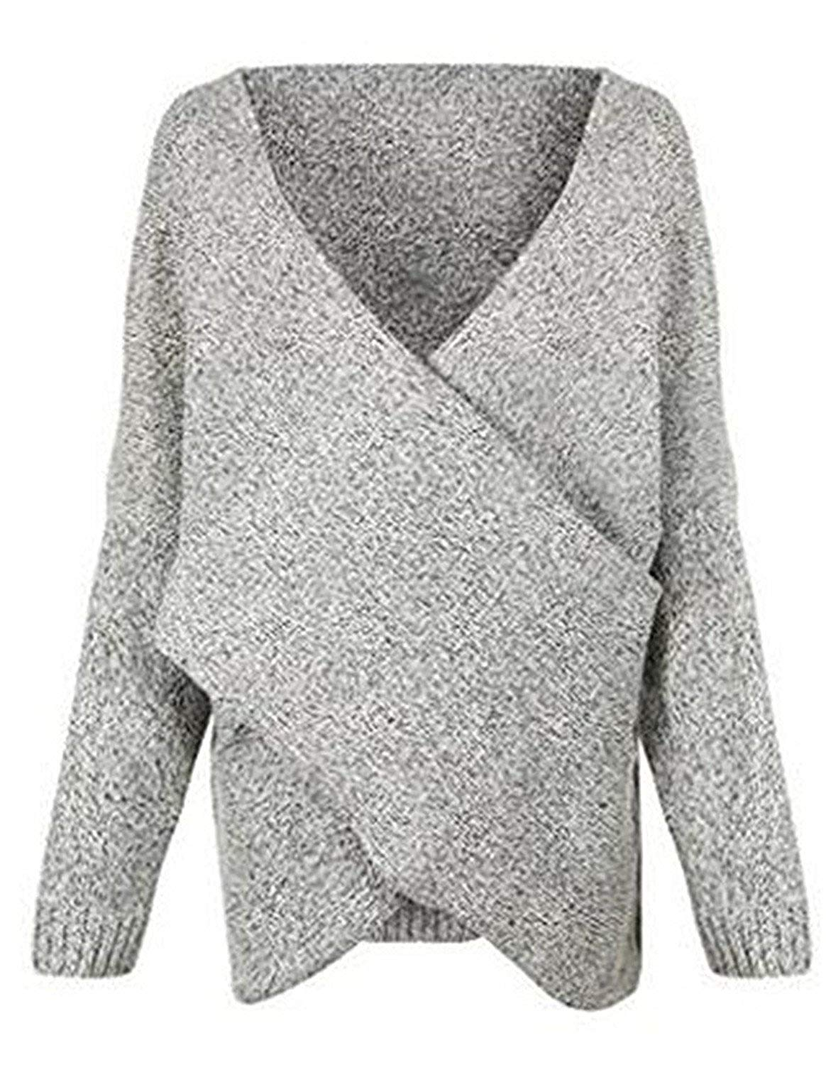 SDHEIJKY Womens Cross Wrap Front V-neck Long Sleeve Knit Pullover Sweater