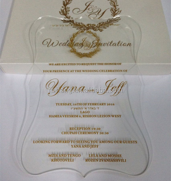 Clear Acrylic Die Cut Wedding Invitations For Elegant Wedding Favors