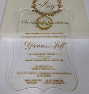 Clear Acrylic Die Cut Wedding Invitations For Elegant Wedding Favors with gold words