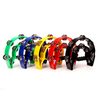 Double Row Jingle Tambourine Handbell Clap Drum plastic headless tambourine percussion instrument