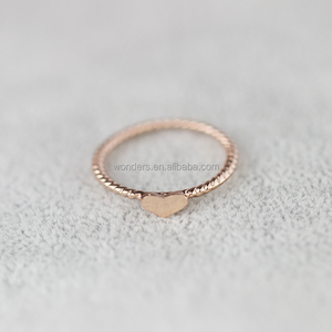 Engagement Twist Rings Gold/Silver/Rose Gold Plated Cute Tiny Love Heart Midi Knuckle Ring for Women