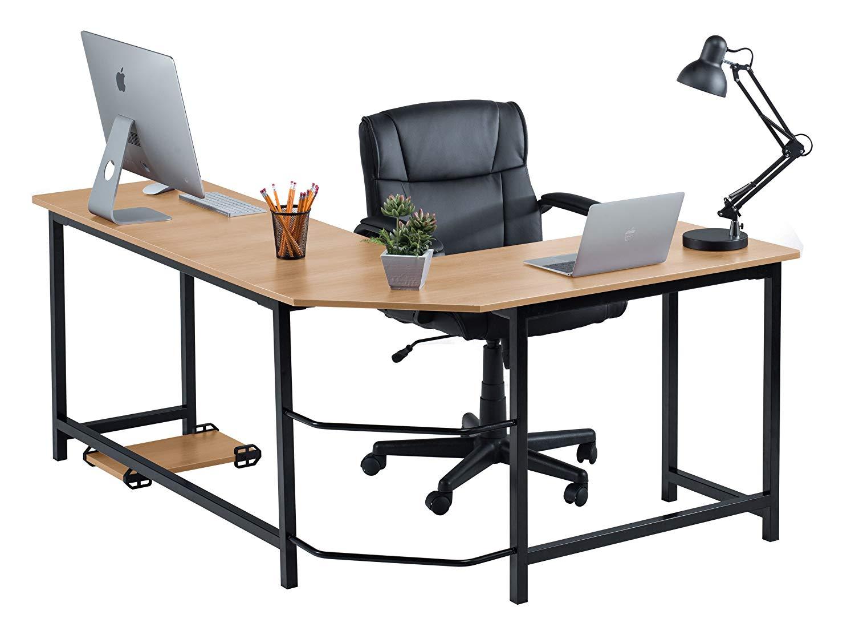 Fineboard Stylish L-Shaped Office Computer Corner Desk Elegant & Modern Design, Beige/Black
