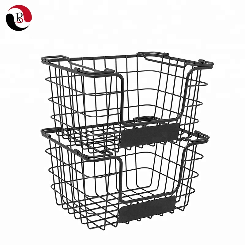 Metal Wire Fruit Vegetable Market Baskets with Chalk Label Set of 2 Storage Bin for Kitchen Counter