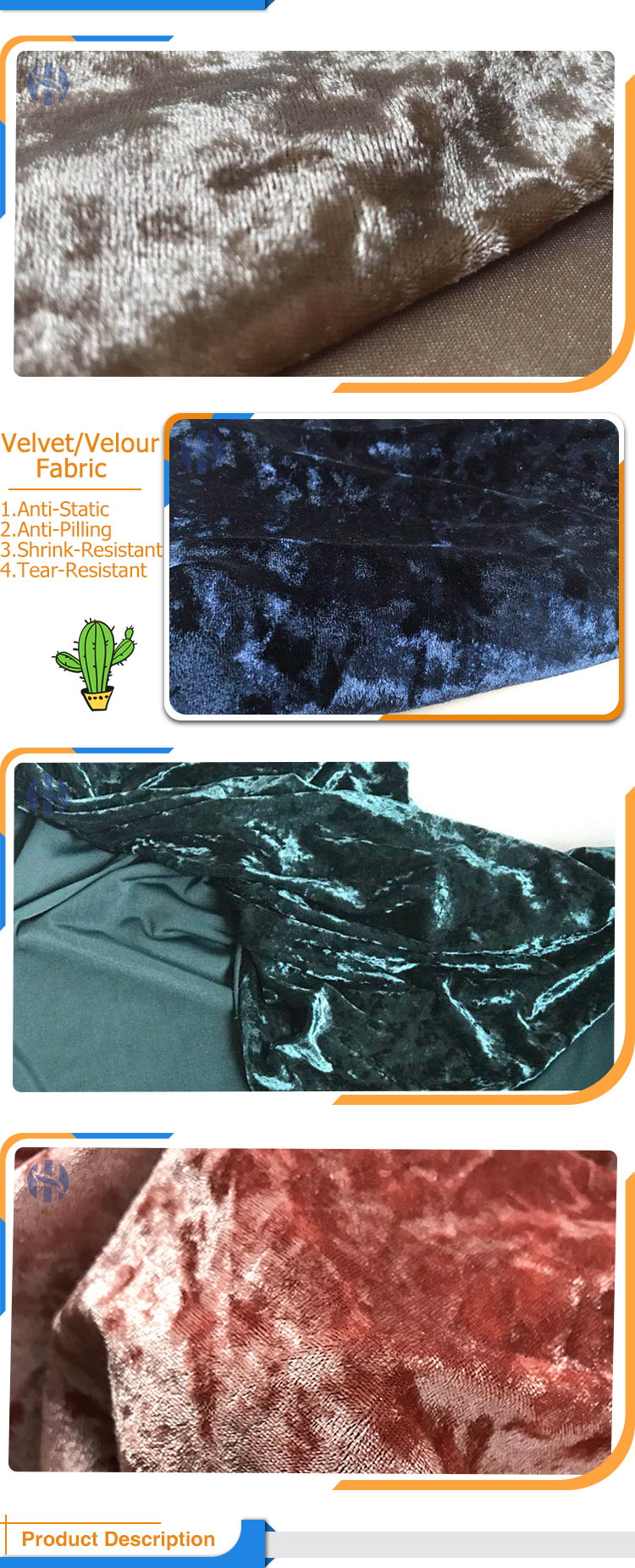95% Polyester 5% Spandex Cracked Ice Glitter Fabric, Crushed Velvet With Good Price For Clothes