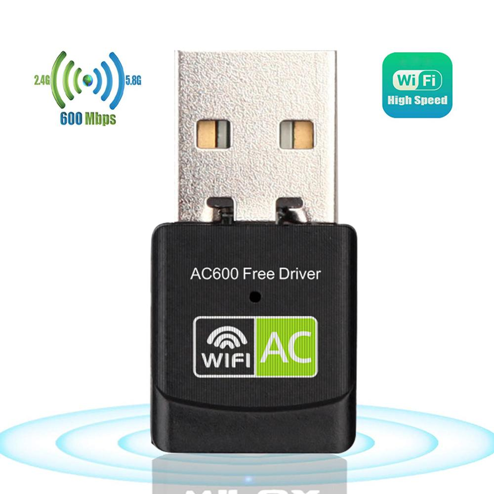 600Mbps Wi-fi Network Card 2 4G 5G Dual Band Lan USB Wifi Dongle Receiver  802 11n/g/a/ac Free Driver Wireless USB Wifi Adapter