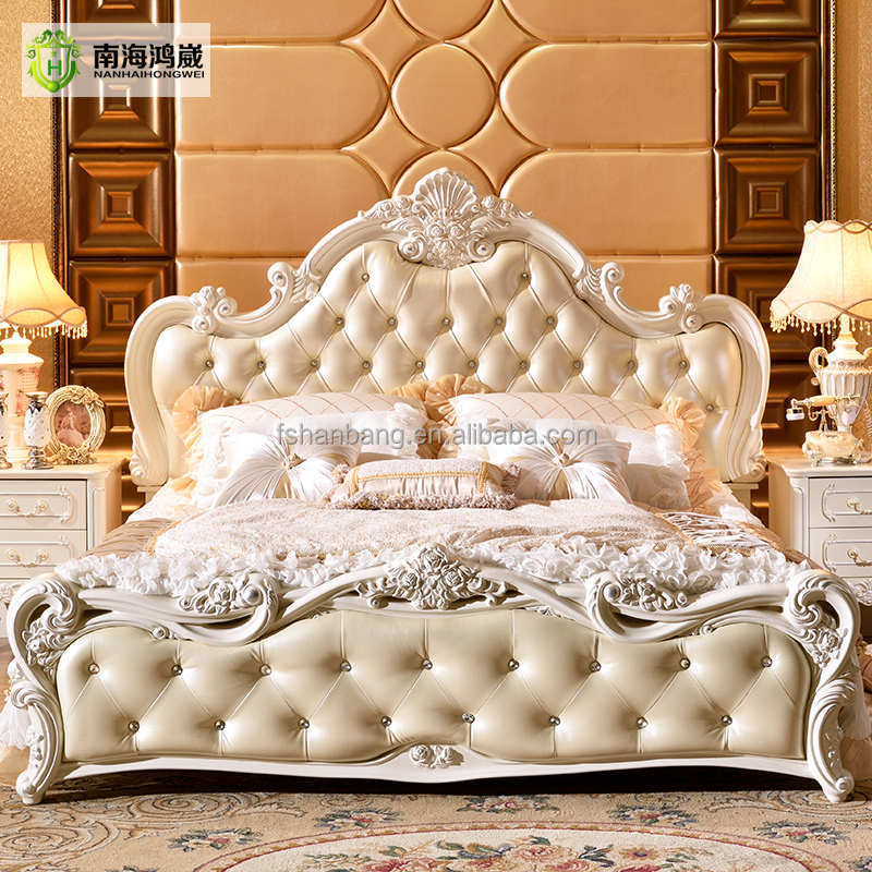 Luxury White French Baroque Barocco Style Hand Carved Wood Leather Adjustable Queen Double Hydraulic Gas Lift up Storage Box Bed