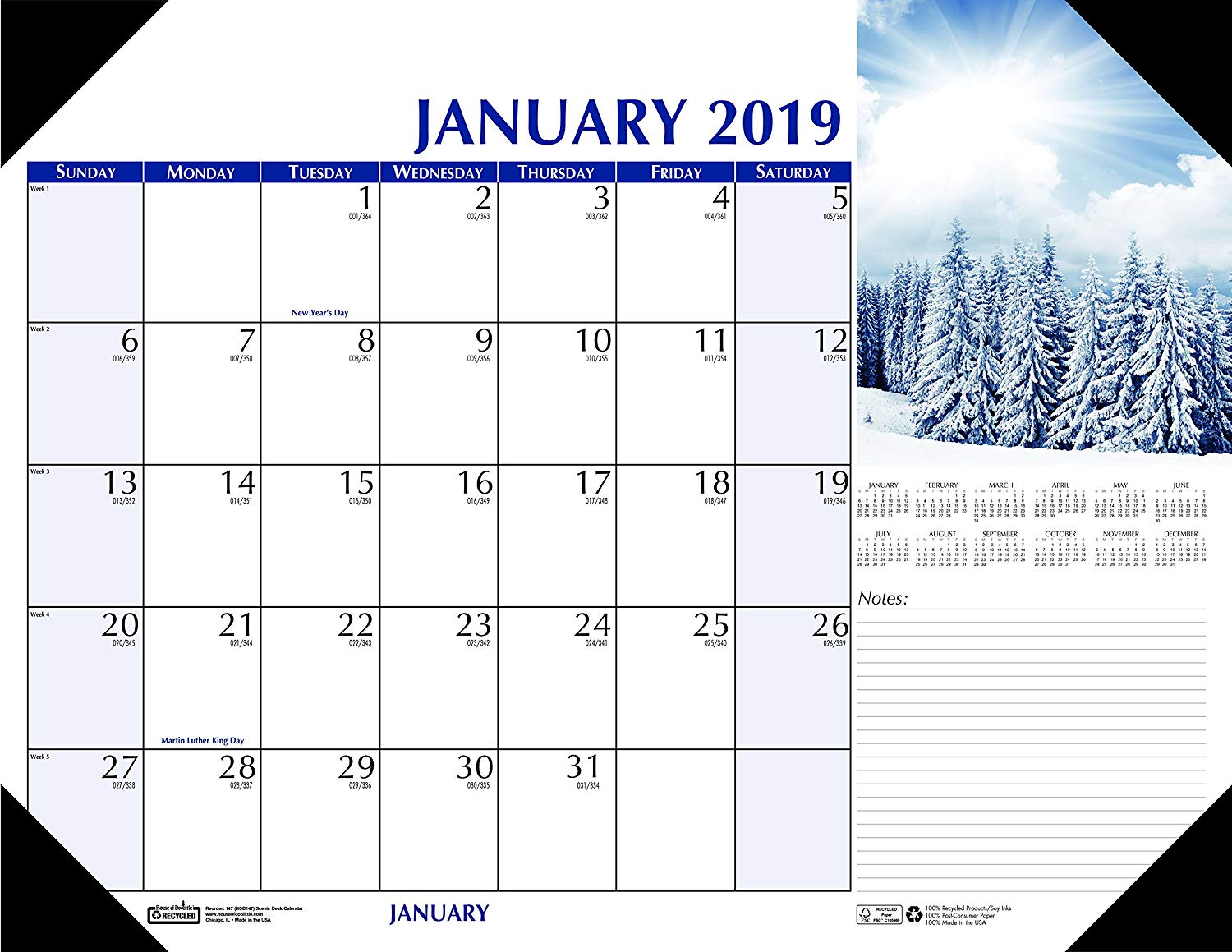 House of Doolittle 2019 Earthscapes Scenic Office Desk Pad Calendar, 18.5 x 13 Inches, January - December (HOD1476-19)