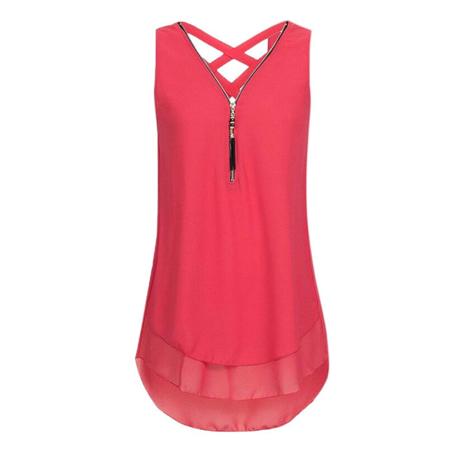 8af488b30eac0 Get Quotations · Staron Plus Size Womens Clothing Tops Zipper V Neck Cute  Criss Cross Back Loose Tank Tops