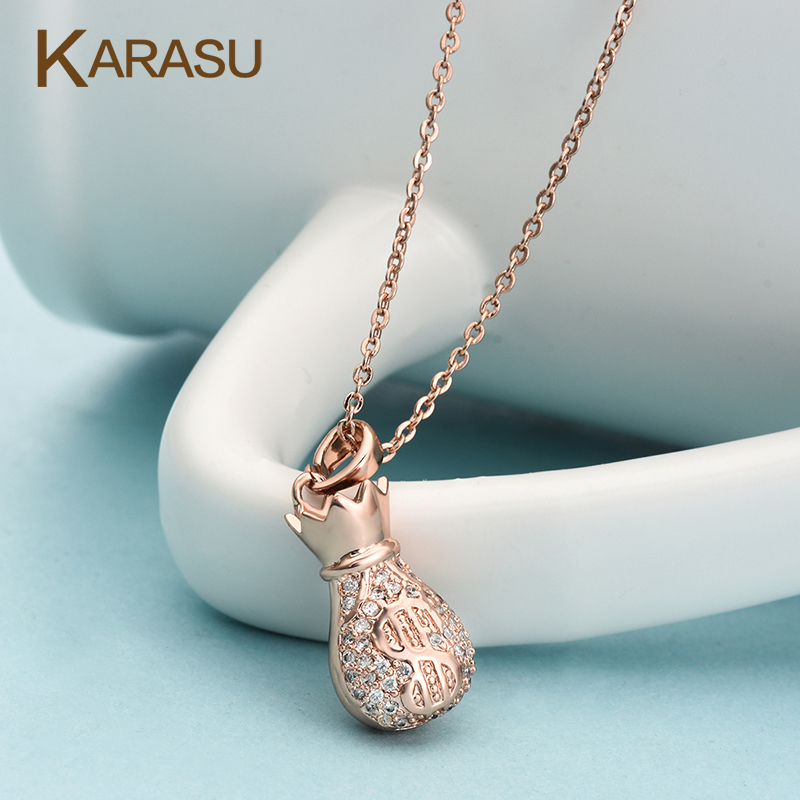 Free Shipping Lucky Bags Gold Plated Design AAA+ Cubic Zircon Pendant with Letter Link Chians Necklaces Women <strong>Accessories</strong>