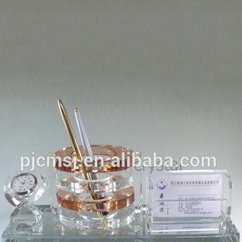 Crystal name card holder glass pen holder with clock buy crystal crystal name card holder glass pen holder with clock colourmoves