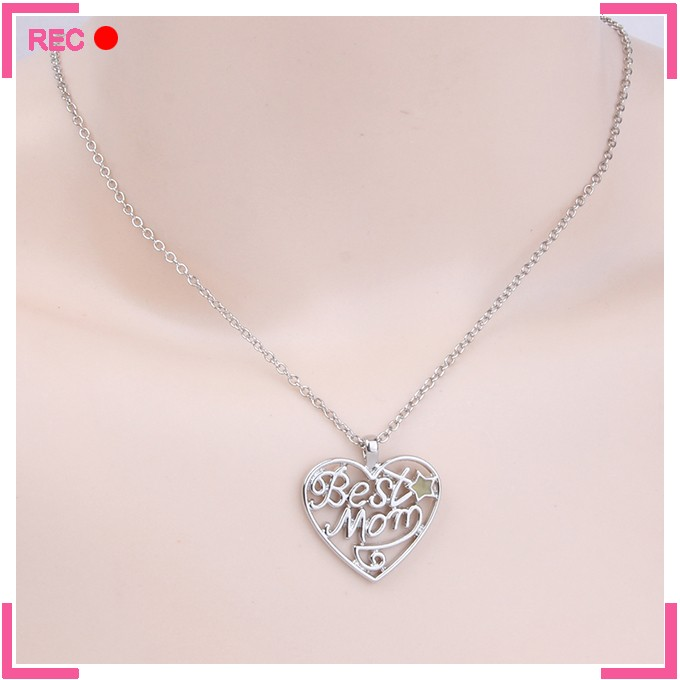 Fashion necklace free samples with heart pendant, luminous best mom alphabets necklaces