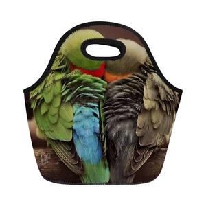 MOQ 1 Fashion 3D Birds Parrot Print Children Cooler Insulated Neoprene Tote  Lunch Bag Manufacturer from 76ebd545850b3