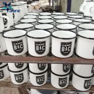High Quality White Sublimation Enamel Mug With Black Edge 12OZ 350ml Custom Logo Print Drinkware
