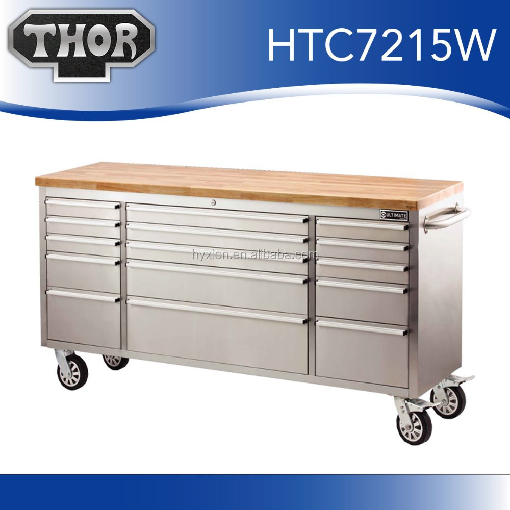 Stainless Steel 15 Drawer Rolling Tool Chest , Wood Top Toolbox Storage