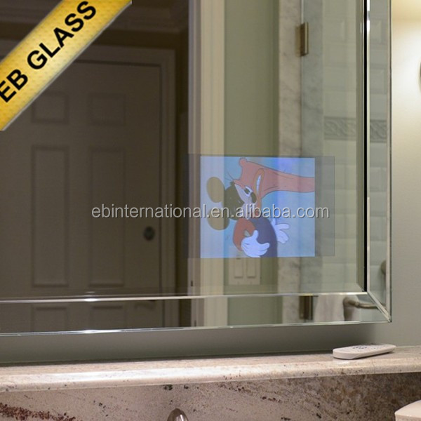 two-way polarized mirror , TV hidden behind a 2 way mirror EB GLASS BRAND