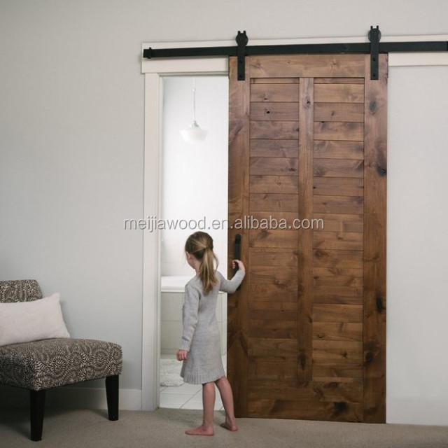 Slab Barn Door With Knotty Pine Wood Door Hardware