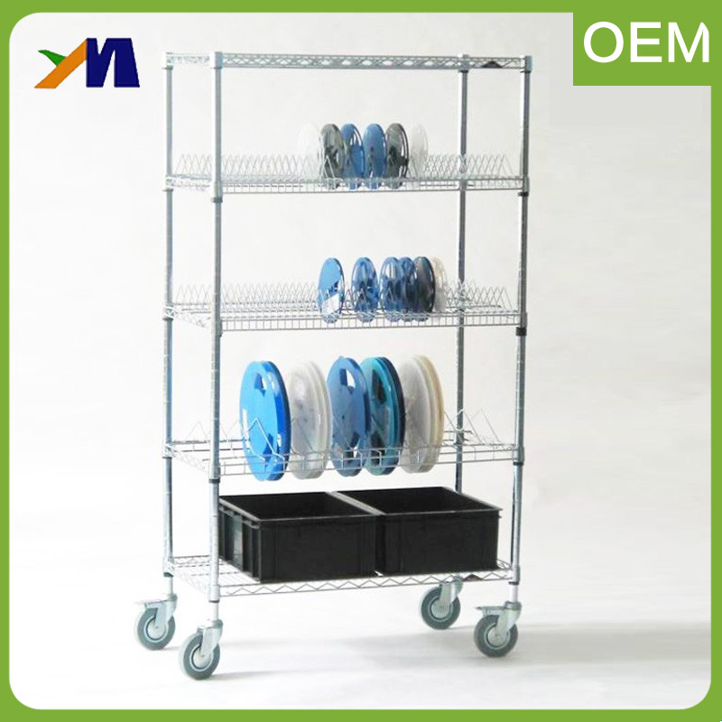 Bimodal Sliding Square Wire Shelving Grocery Trolley Cart Supermarket Shopping Cart