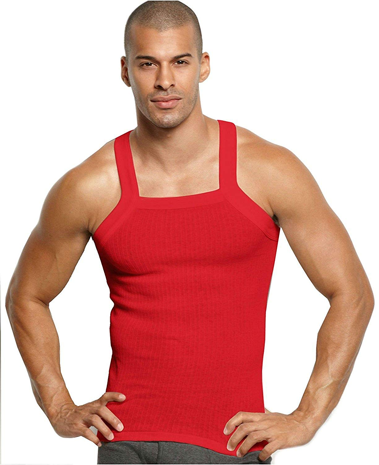 50404600b Get Quotations · John Son Super Heavy Weight Square Cut Tank Top - 4 Pack