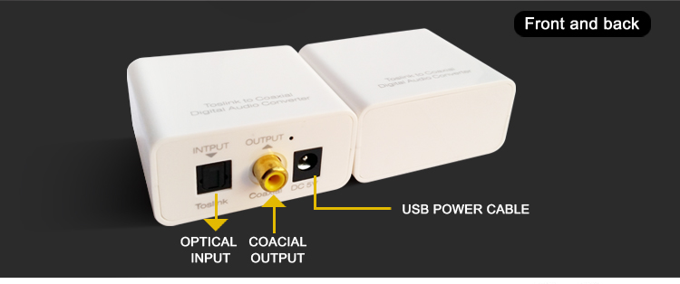 Toslink optical to coaxial digital audio converter