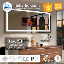 Factory Price IP44 LED Bathroom Smart TV Mirror With Touch Screen LED Mirror Light