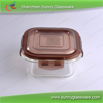 microwave safe small square glass food container with color lids
