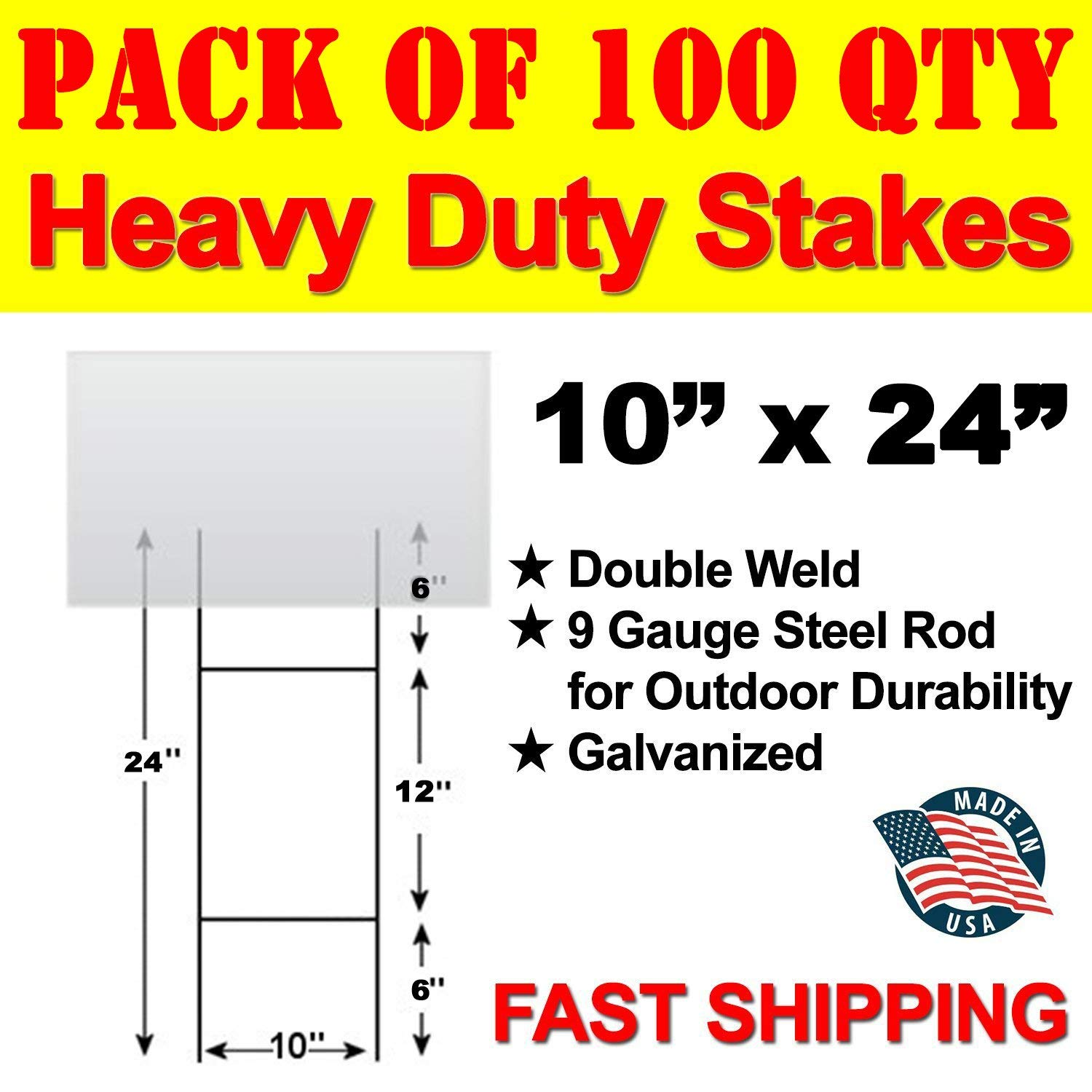 "Vibe Ink Bundled Pack of 100 Quantity Heavy Duty Metal 24-inch H-Stakes""H"" Frame Wire Stakes - Yard Sign Stake - Use with 4mm Corrugated Signs"