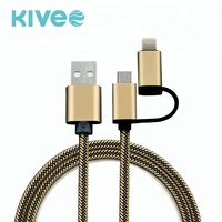 Factory price 1M 2 in 1 Charger Data Cable Line For V8 / IOS / Type-c