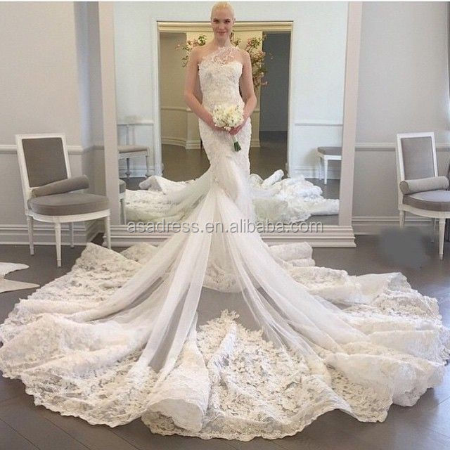 WDWA-100 Lace Tulle Trumpet Bridal Gown One Shoulder with Long Train Alibaba Wedding Dress 2017