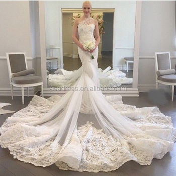 WDWA-100 Lace Tulle Trumpet Bridal Gown One Shoulder with Long ...