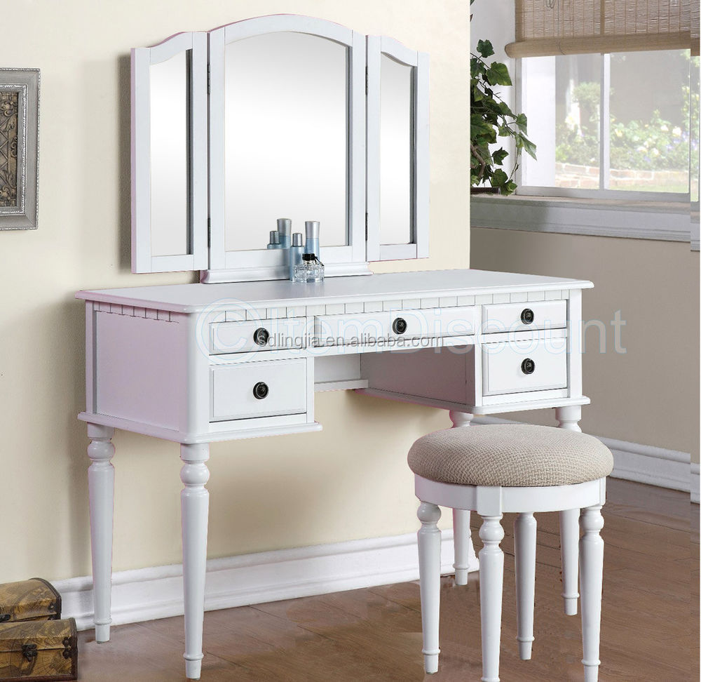 Modern Mdf Mirrored Foldable Vanity Bedroom Dressing Table With Chair - Buy  China Bedroom Design Hand Carved Wood Foldable Dressing Table,White Hand ...