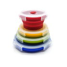 Hot Set of 4 Round Silicone Food Storage Containers BPA Free and Microwave safe storage box