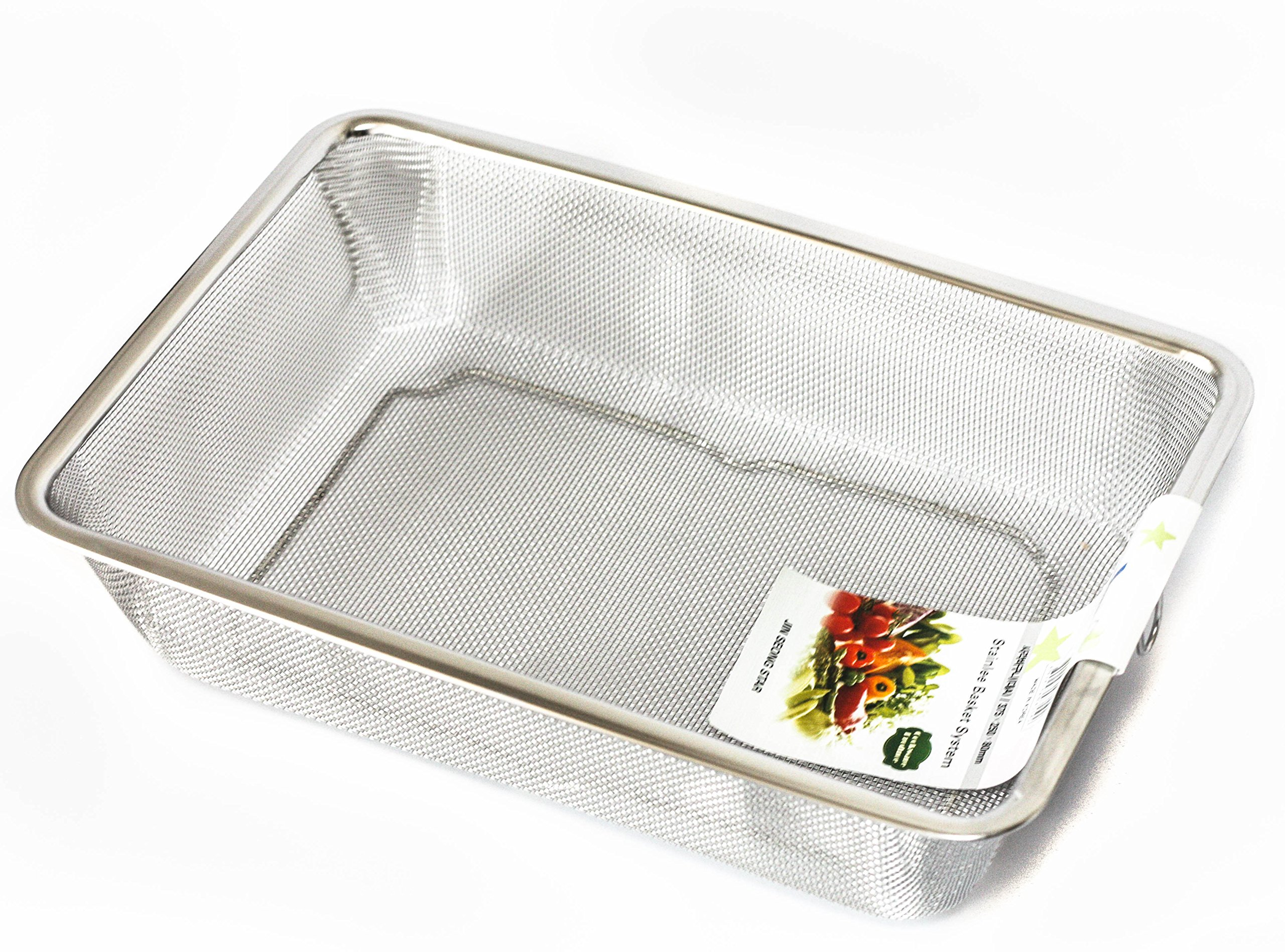 "Rectangle L14.7"" X W9.8"" X H 3.15"" Stainless Steel Mesh Sink Basket Vegetable Fruit Fried Food Strainer Kitchen Colander Large"