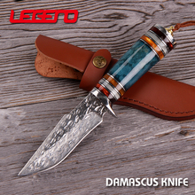 HD006 Hot sale handmade fixed blade damascus steel survival hunting knife with leather sheath