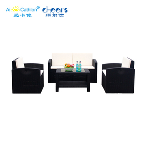 Garden Furniture Modern 4 Seater or 5 Seater Cheap Plastic Rattan Sofa Set
