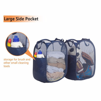 Pop up Foldable Pop-Up Mesh Hamper, Laundry Hamper with Reinforced Carry Handles