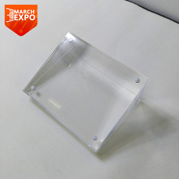 Custom crystal clear display thick acrylic block magnetic sign holder
