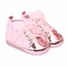 First Walkers Baby Shoes Soft Sole Rose Flowers Shoes Infant Lace Shoes