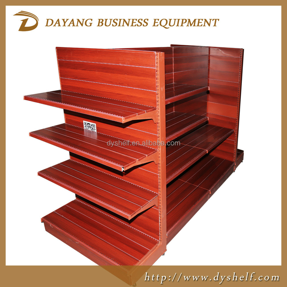 2016 High quality wooden like supermarket shelving display rack