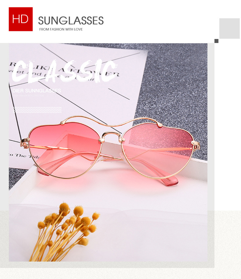 2019 New Arrivals Heart Irregular Curved Color Women Shades Sunglasses