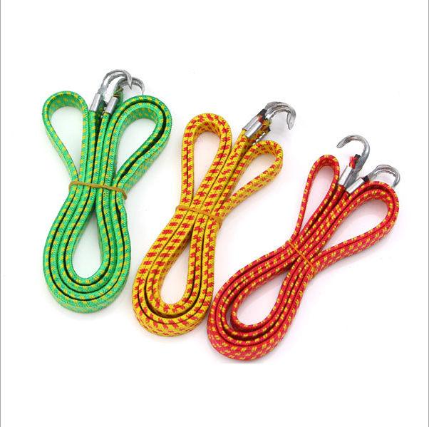 Wholesale high quality flat rubber bicycle binding rope with metal hook