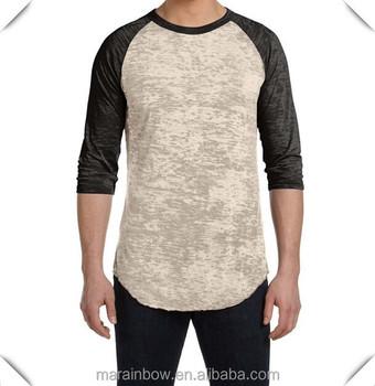 5597f19c18 Contraste negro color blanco mens Burnout camisetas de béisbol en blanco  3 4 manga