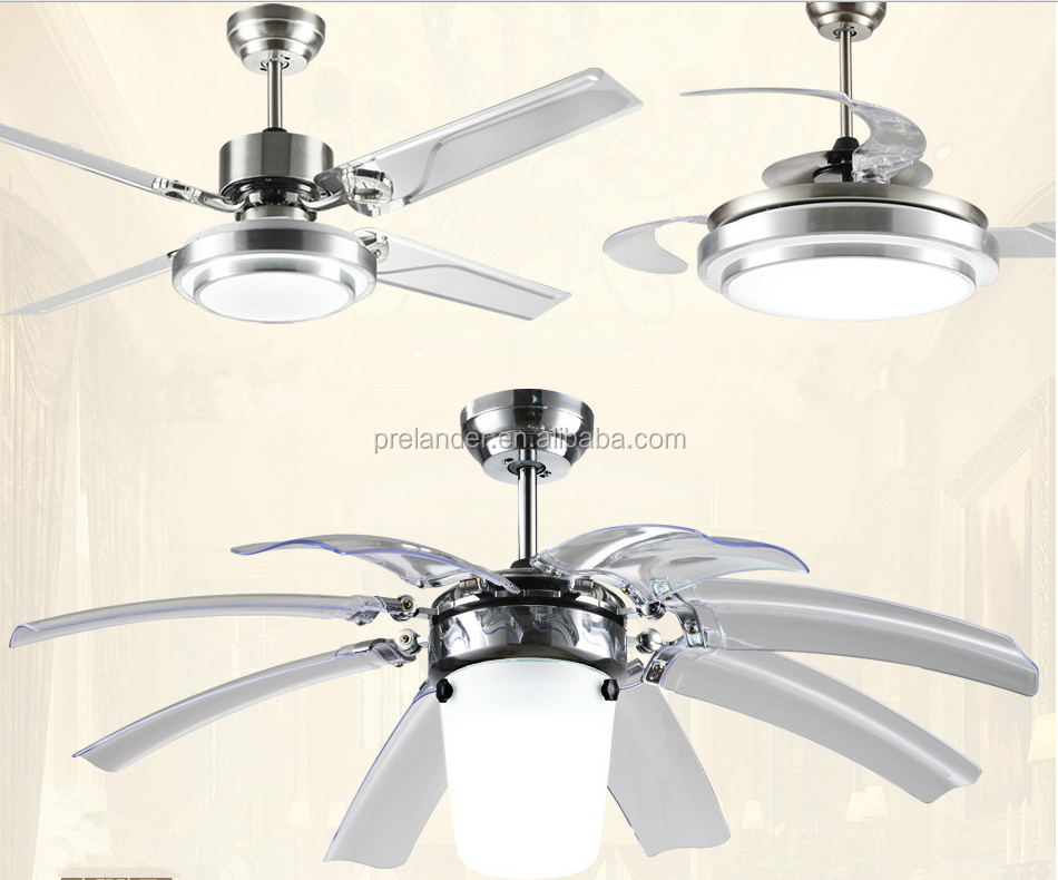 Hidden Ceiling Fan : Ceiling fan hidden blades transparent crystal