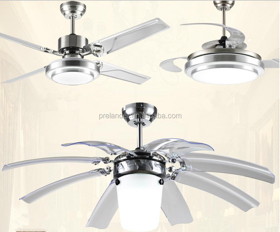 Ceiling Fan Hidden Blades Transparent Crystal 5 Blades