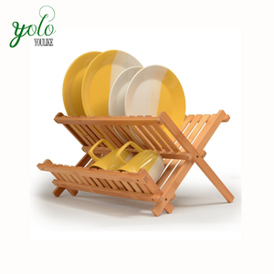 100% Bamboo wood kitchen Dish Rack, Foldable plate drying holder