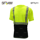Men's fashionable sports reflective customized yellow-black black bottom and crew neck safety t-shirt