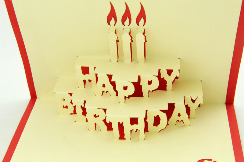 Happy Birthday Greeting Card With 3d Letter Shape