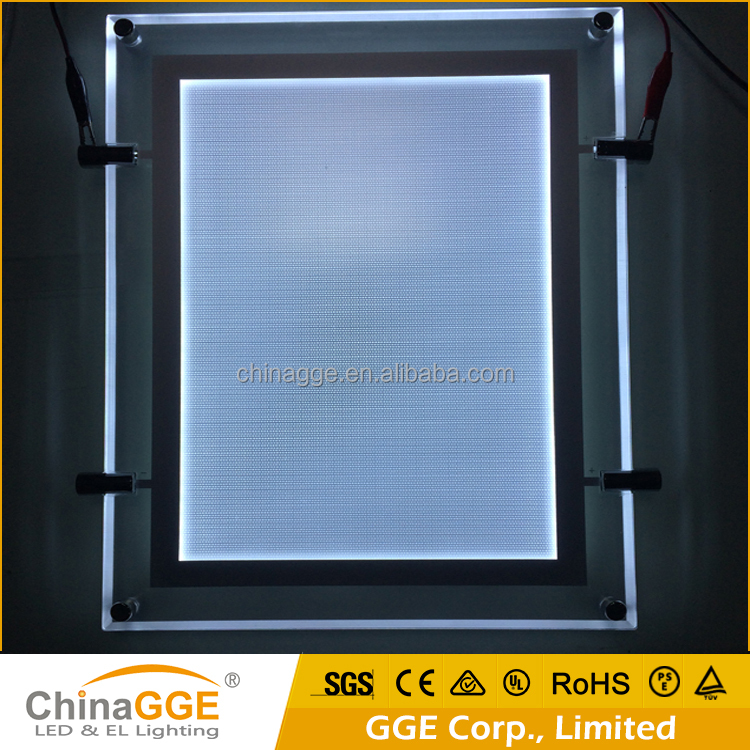 Acrylic Illuminated LED Cable Suspended Real Estate Window Display A4 Single Side Double Side LED Light Pockets