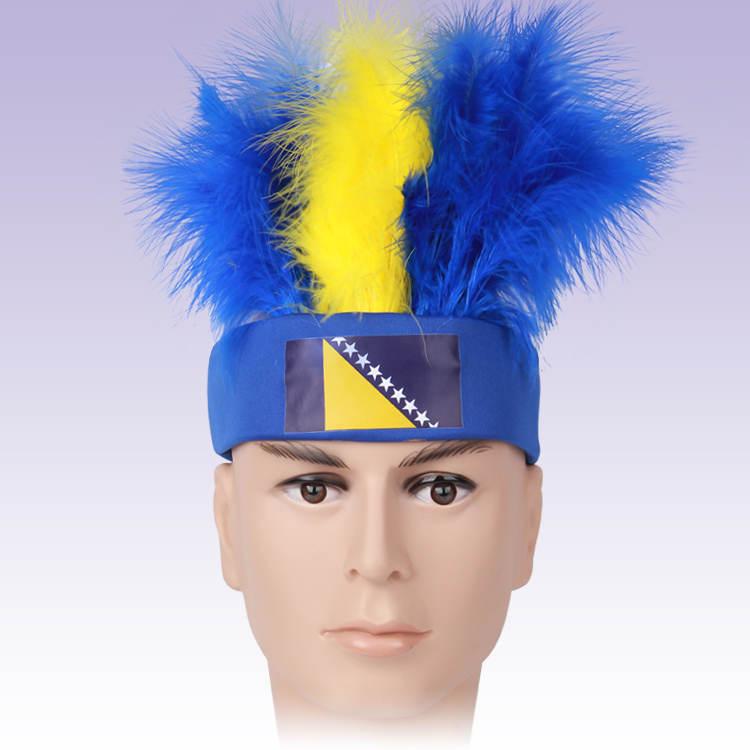 2015 новый босния и герцеговина флаг логотип поклонники парик синий и желтый цвет косплей парик волос перо на день рождения ну вечеринку перо Cap